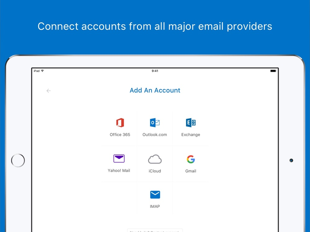 Outlook for iOS works with many account types