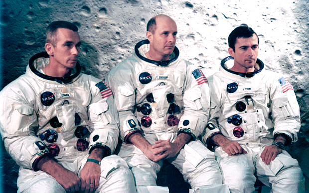 Left to right; Eugene Cernan, Thomas Stafford and John Young, astronauts of the Apollo 10 spacecraft    Photo: Science & Society Picture Library