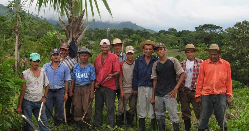 A group of workers in Nuevo Paraiso after a day of work
