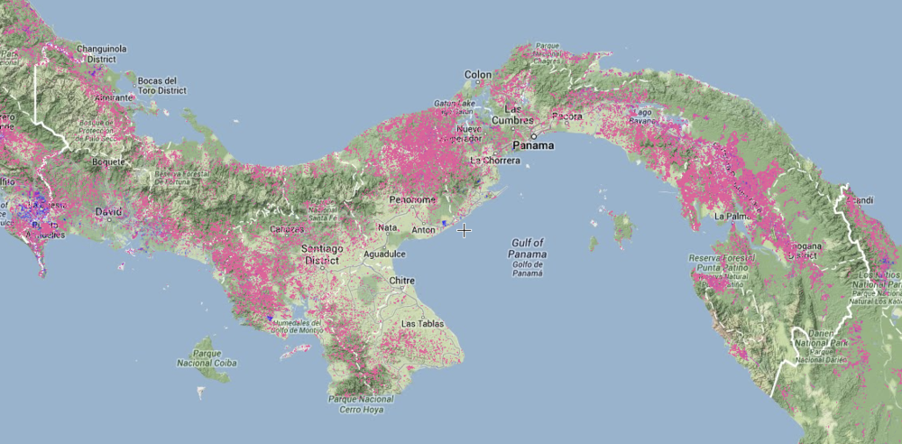 Forest loss in Panama shown in pink
