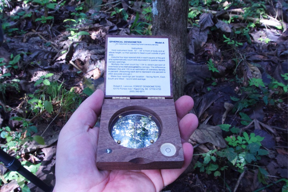 Densiometer to measure tree canopy cover