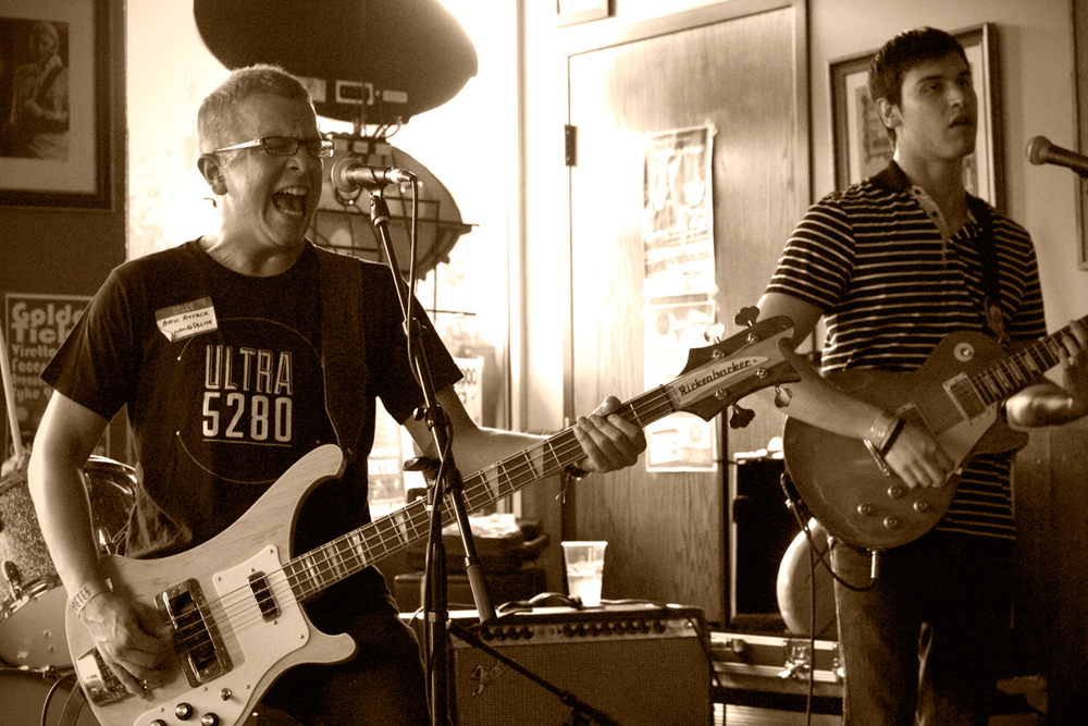 The talented trio of Mr. Right (nice shirt) rocking out at Moe's. (Photo Credit Robert Castro)