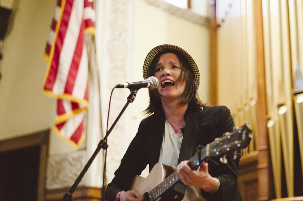 Sarah Slaton serenading the church crowd (Photo Credit Justin Schoenborn)