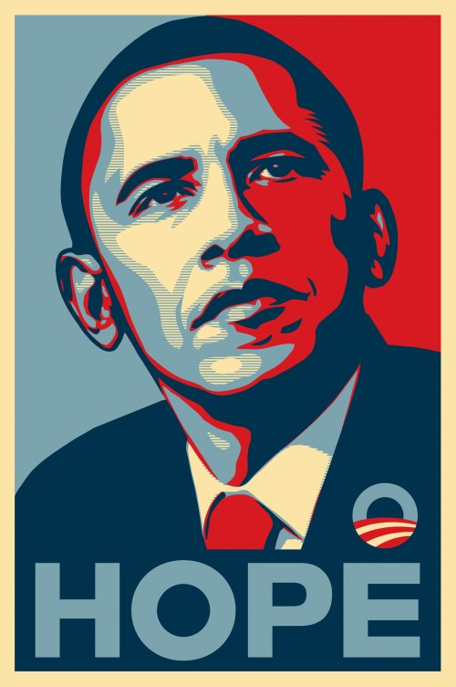 "Shepard Fairey's iconic ""Hope"" image of Barack Obama"