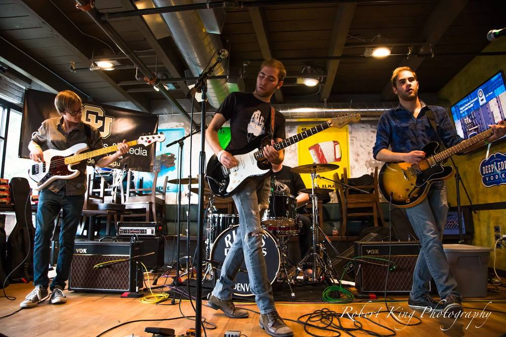 CU Denver students rocking out at Illegal Pete's during the 2014 Underground Music Showcase.