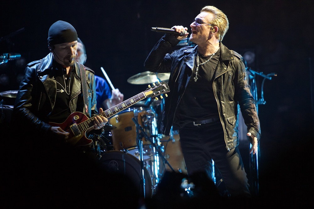 The Edge and Bono electrifying the sold out Pepsi Center (Photo Credit: Robert Castro)