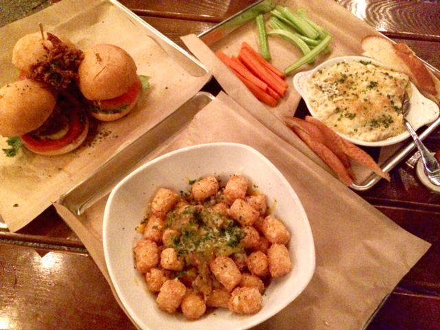 Chili tots, beef sliders, and green chili artichoke dip.