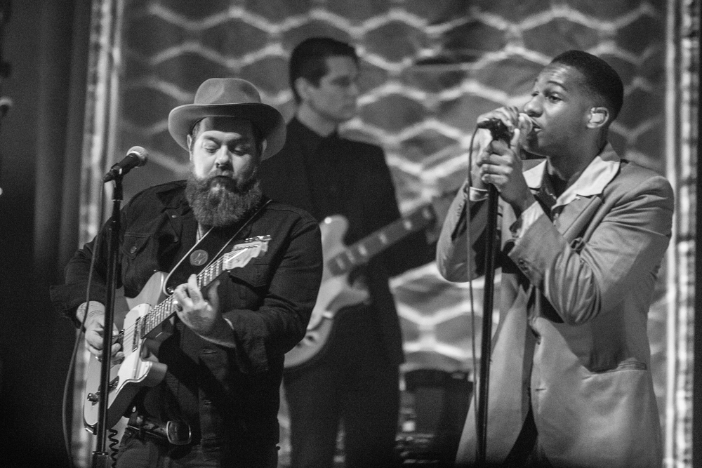 Nathaniel Ratliff and Leon Bridges performing together at The Paramount Theatre (Photo Credit: Robert Castro)