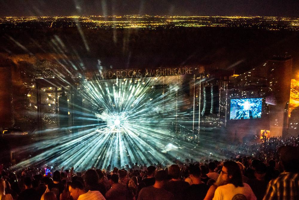 Jaime XX's disco ball lighting up the night  (photo credit: Andrew Rios/Ultra5280)