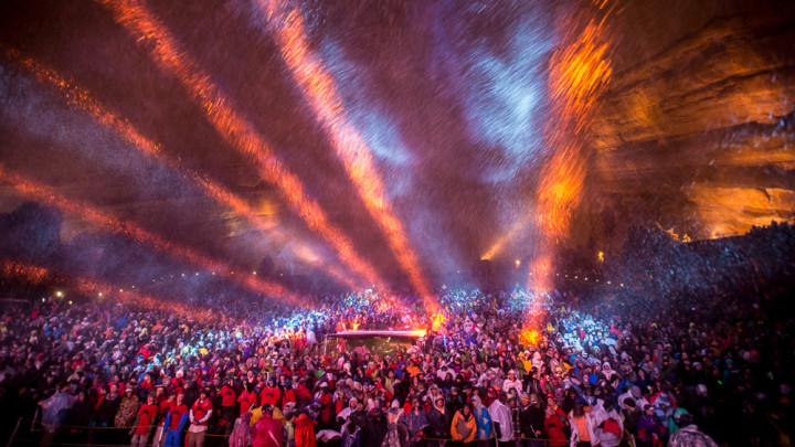 "last year's Gramatik show at Red Rocks, now referred to by fans as ""Blizzmatik"". (photo credit: NO COAST)"