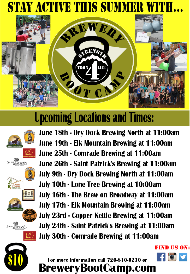 """6/26: Brewery Boot Camp  You know that old cartoon gimmick, the old donut hanging just out of reach over a treadmill? Well that Saturday morning Tom & Jerry show has transcended into an adult. Come and sweat it out like a true Denverite, and replace that donut with a beer. (You'll get to drink it after you finish working out, don't fret).  Event Description:  Coloradans are known for their shared love of a great workout and an even better beer. Strength Train 4 Life has paired with several local Colorado breweries to provide local people the opportunity to enjoy both. Our motto is """"Train Hard, Play Hard"""" and what a better way to do that than getting a workout in at a great brewery followed by their delicious beer. Did we mention that beer you worked hard for will be discounted after the workout!?  Our total body workout will last one hour, enough to """"earn"""" you a post-workout beer…or two. Workouts are designed for any fitness level and we can accommodate limitations if needed. For the cost of $10 you get the a great workout and discounts off your tab post workout. To register use the link below or come a few minutes early the day of. For questions please contact us at 720-810-0230.   http://strengthtrain4life.com/brewerybootcamp"""