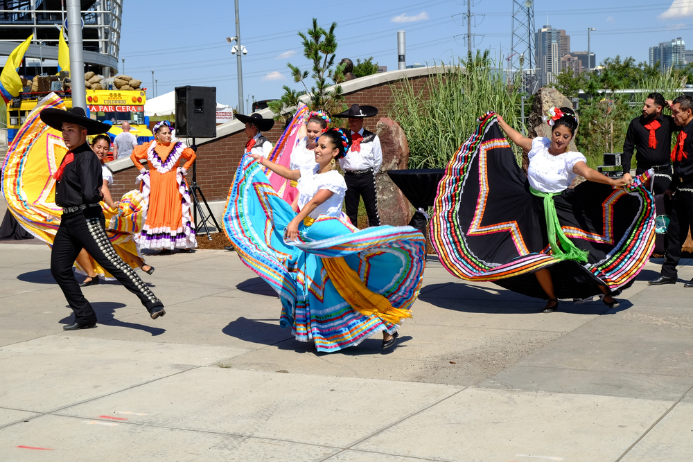 The colorful Baile Folklorico dancers on hand.