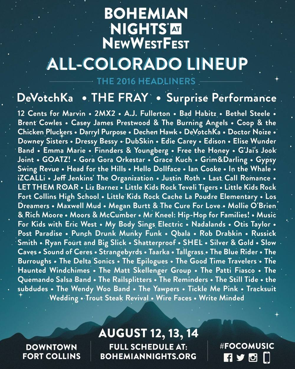 2016 Bohemian Nights @ New West Fest Lineup