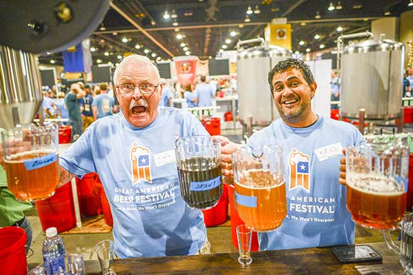 Pictured: two likely phases of GABF drinkers. Photo: Chilled Magazine; Great American Beer Fest 2016