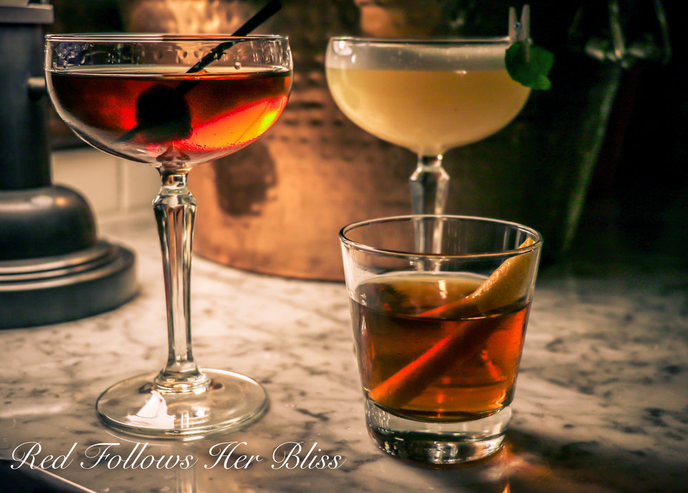 From Left: Milan Manhattan, Grapefruit Basil Fizz, Italian Rye