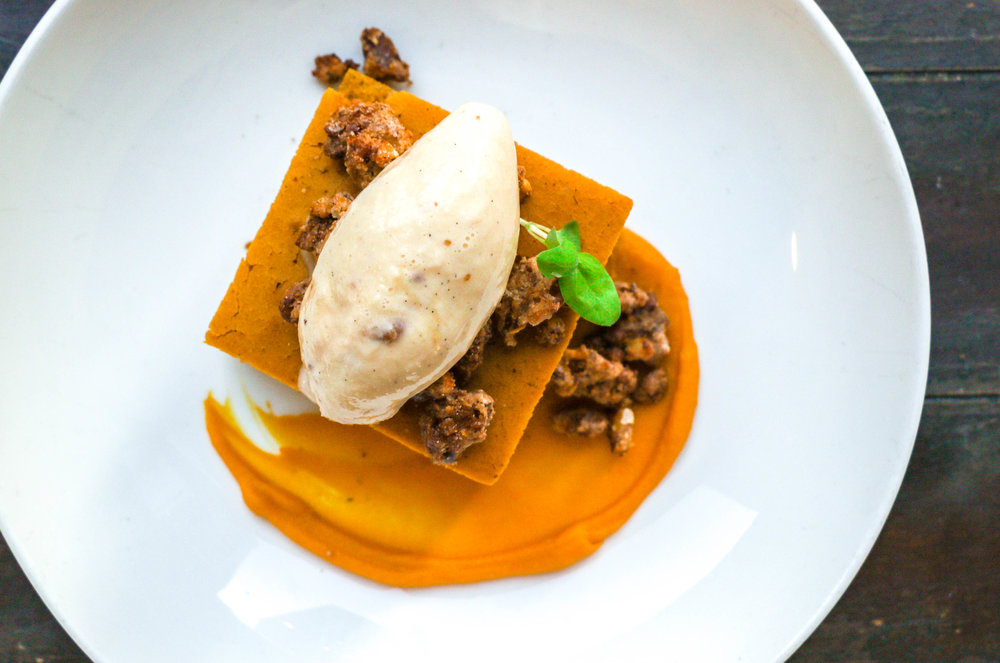 Kabocha cake (Mister Tuna) - Amaretto squash purée, kabocha (squash) cake, buttered walnut ice cream, candied walnuts, and warm caramelized maple.