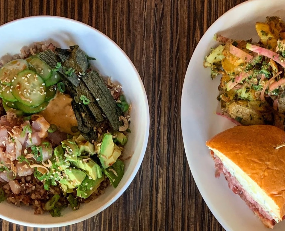 Lamb Burger (right) and the Poke Bowl (left)