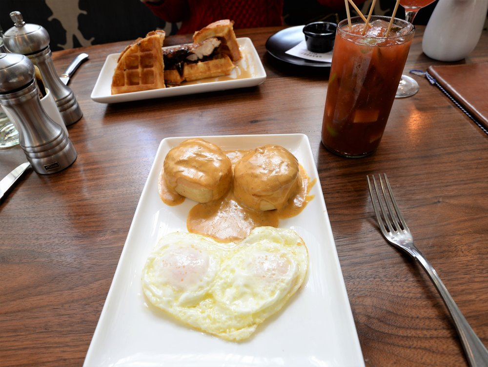 Biscuits & Gravy. Chicken & Waffles. Bloody Mary.