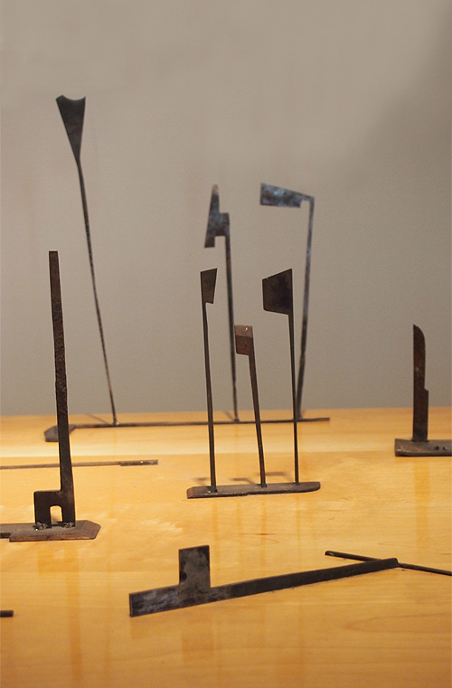 Sculptural totems by Edward Tufte  Photo: Cia Mooney