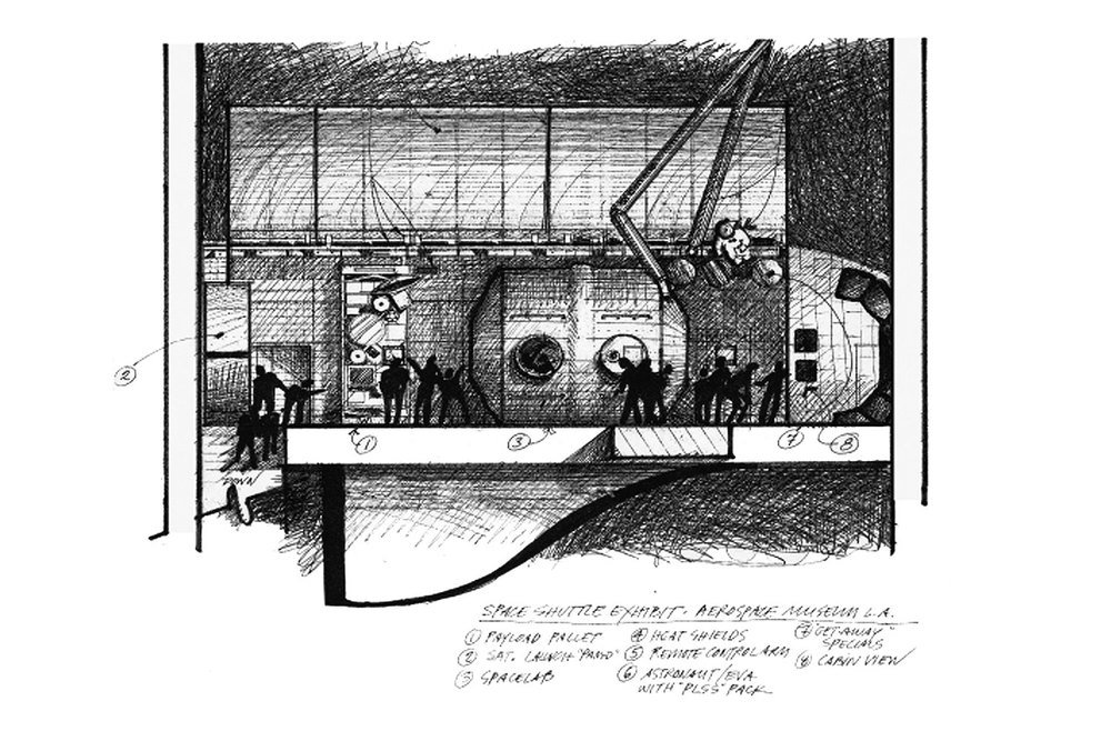 space shuttle exhibit sketch - cia mooney, aerospace museum, los angeles, for wetzel associates.