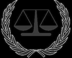 International Criminal Court insignia.