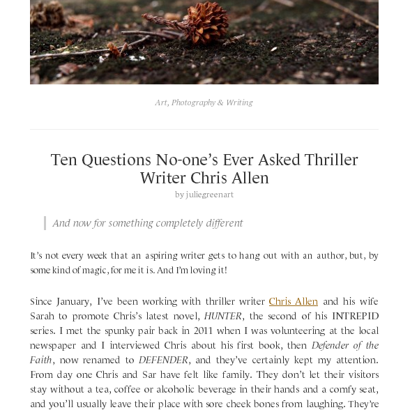 Ten Questions No-one's Ever Asked Thriller Writer Chris Allen