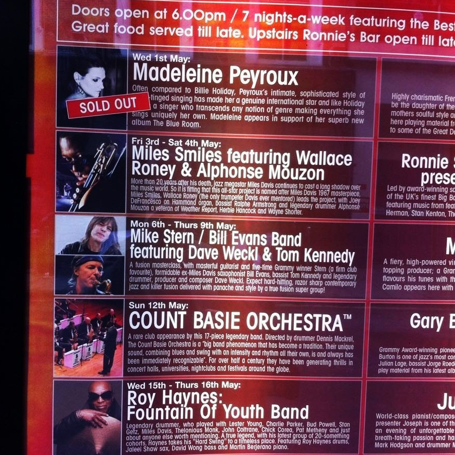 A few of the upcoming gigs at Ronnie Scott's, and it's no surprise to see Madeleine Peyroux is sold out!