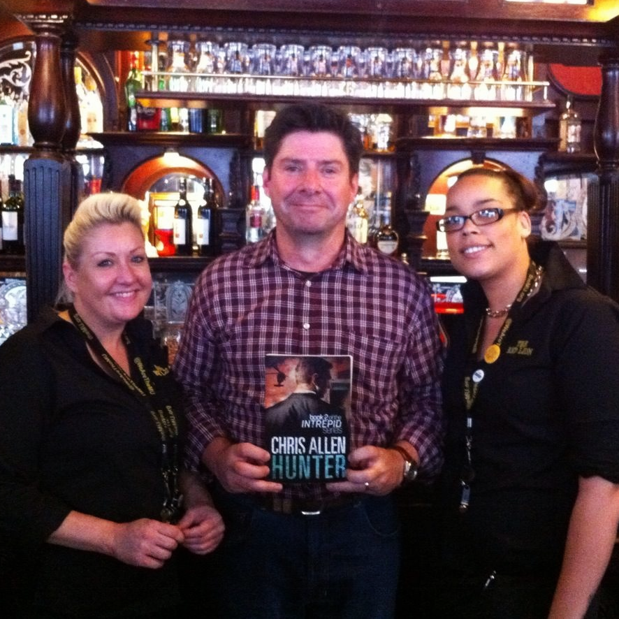 With Cathy (left) and Desiree (right) and Alex Morgan (centre) at my favourite pub in London, The Red Lion Westminster.  It was great to take Morgan & Hunter for a photo opportunity as the venue appears in both books!