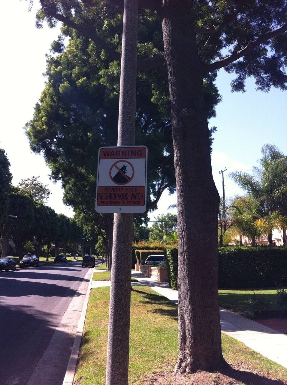Even the Beverly Hills Neighbourhood Watch program looks like something from a movie...