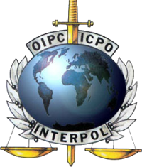 Interpol logo - Intrepid is the sword of Interpol.