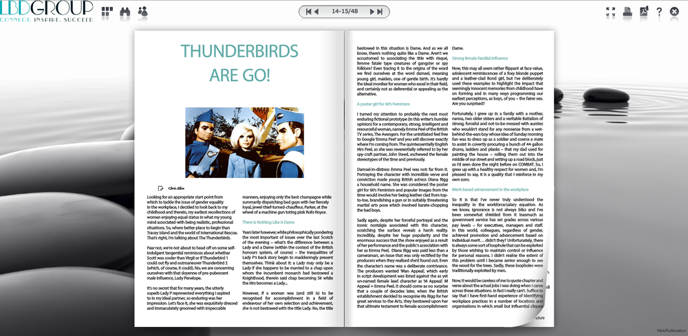 Thriller writer Chris Allen on The Thunderbirds and gender equality in the workplace on GLOSS magazine.