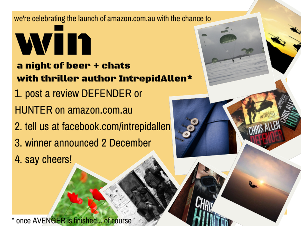 Competition to celebrate the launch of amazon.com.au: win a night of beer + chats with thriller author Intrepid Allen!