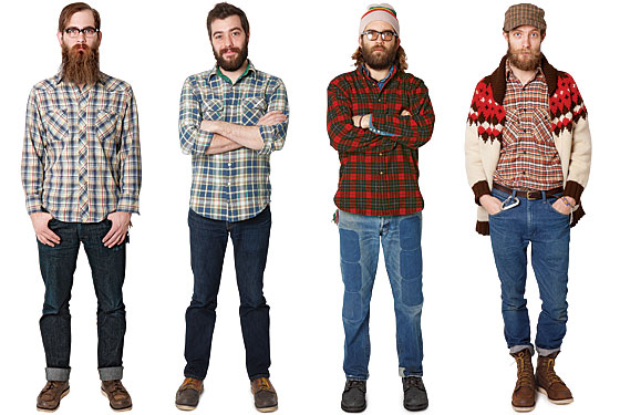 From left: Kris Payne, 26, Landscape Photographer. Pastimes: fishing, homebrewing. Kyle Hackett, 28, Menswear Designer. Pastimes: fixing cars and bikes. Jason Andrews, 36, Artist, D.J. Pastimes: making own Kombucha tea, motorcycling. Simon Howell, 37, Photographer. Pastimes: woodworking, cabinetry, surfing. (Photo: Hannah Whitaker)