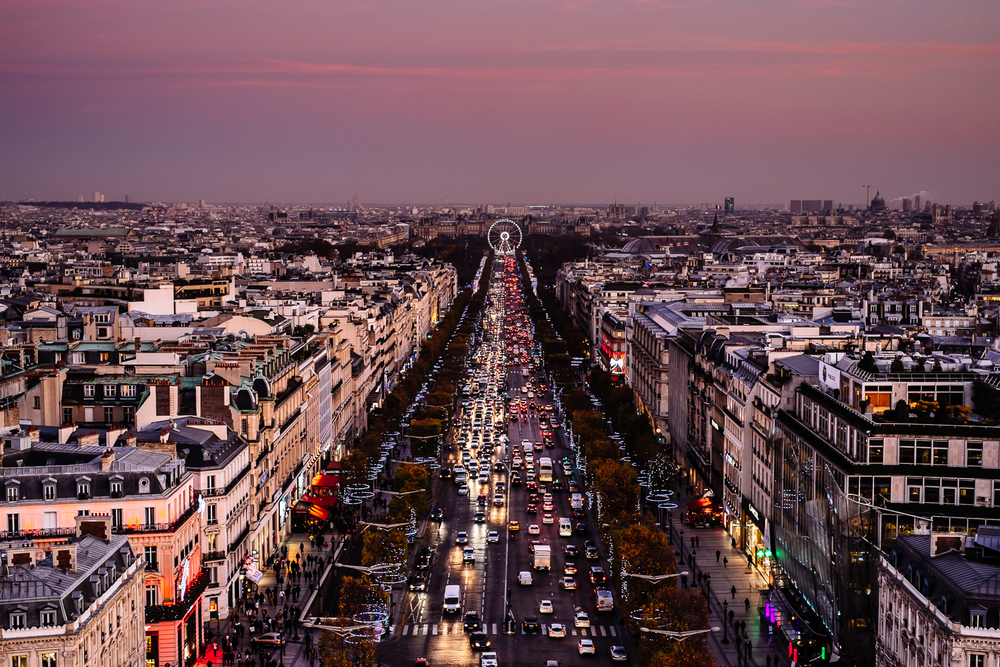 View from the top of Arc de Triomphe