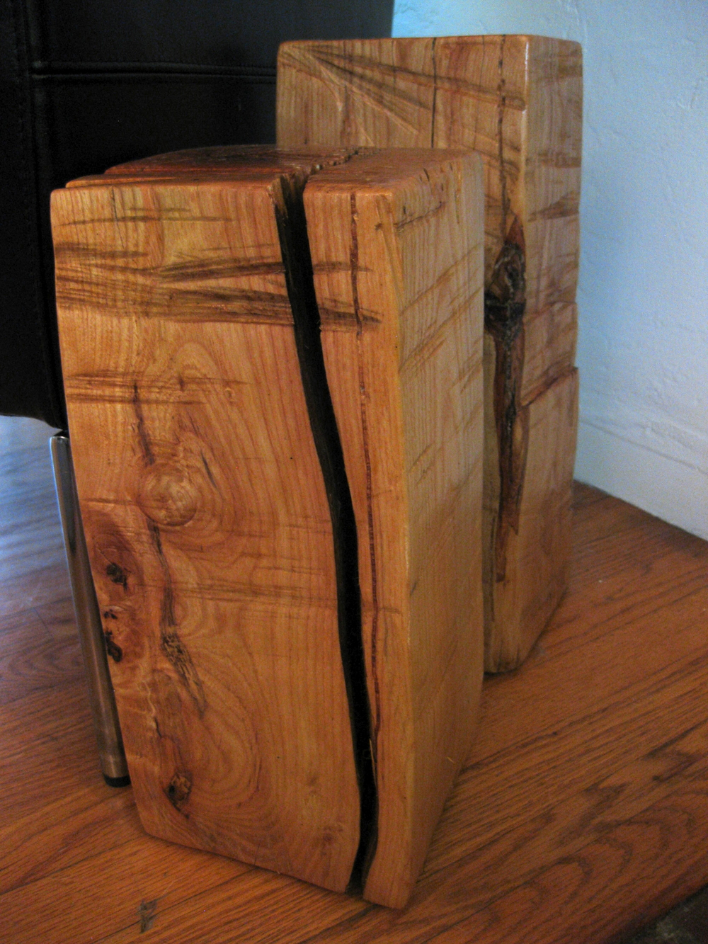 Wood beam side tables