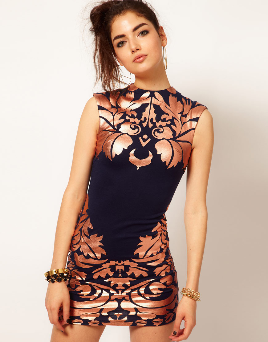 Inspired Look    Reverse High Neck Foil Print Dress   	                        	         	          		        	 		         $77.61