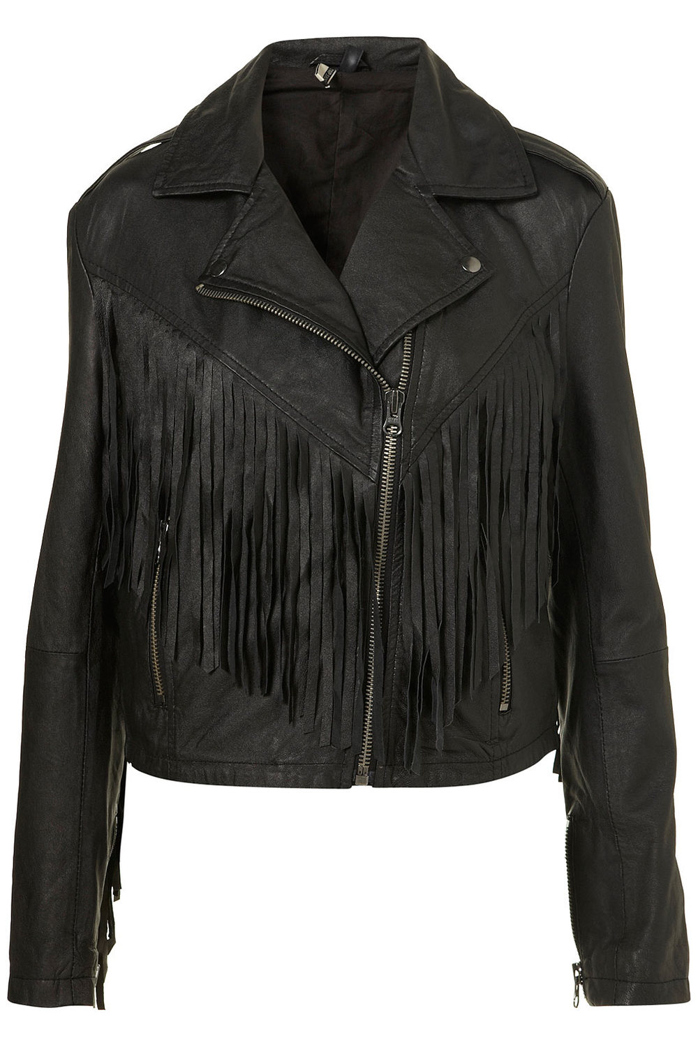 Inspired Look   Fringed Leather Biker Jacket    Price: $370.00