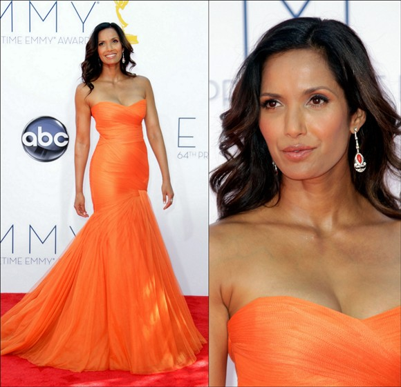 Padma Lakshmi looked stunning an orange Monique Lhuillier