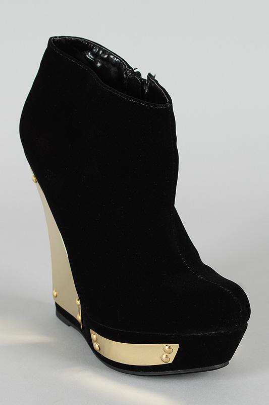 Velvet Round Toe Wedge Bootie $58.00