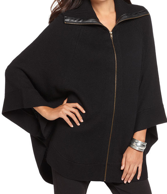 Alfani Sweater, Zip Front Poncho $54.99