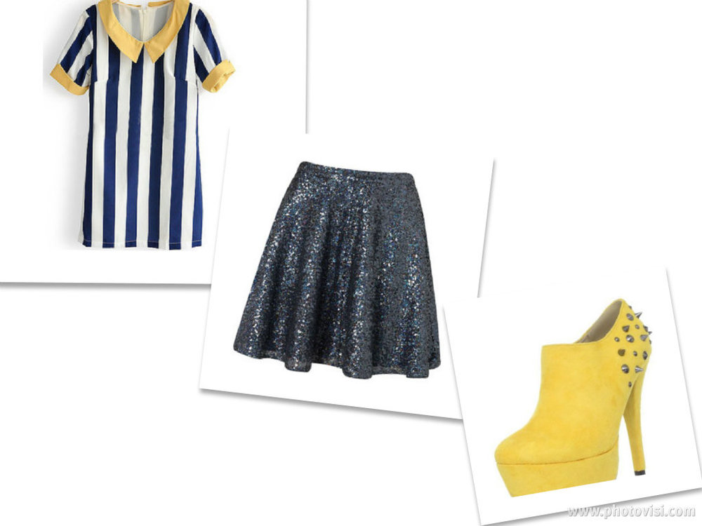 Blue Short Sleeve Chiffon Wide Vertical Stripe Blouse $31.00    Blue Sequin Skater Full Skirt $90.00  Fahrenheit Women Nandi Platform $72.99
