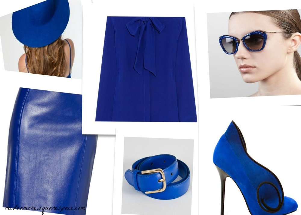 Cheyanne Royal Blue Suede Pump $109  IRIS INK PussyBow Blouse $125  Versace Electric Blue Leather Skirt $2,010  American Apparel Wool Floppy Hat $40.00  Extreme Cat eye Blue Sunglasses $390  Unisex Basic American Apparel Leather Belt $15