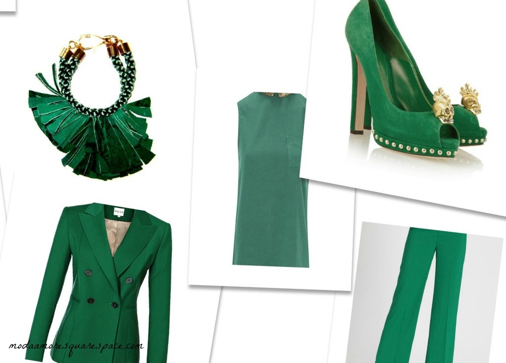 Emerald Green Suede Bracelet $61   Rosalie Double Breasted Blazer $425   Alexander McQueen Skull Suede Pump $1,085  Emerald Lane Wide Leg Trouser $56.99  Top FIDO $69