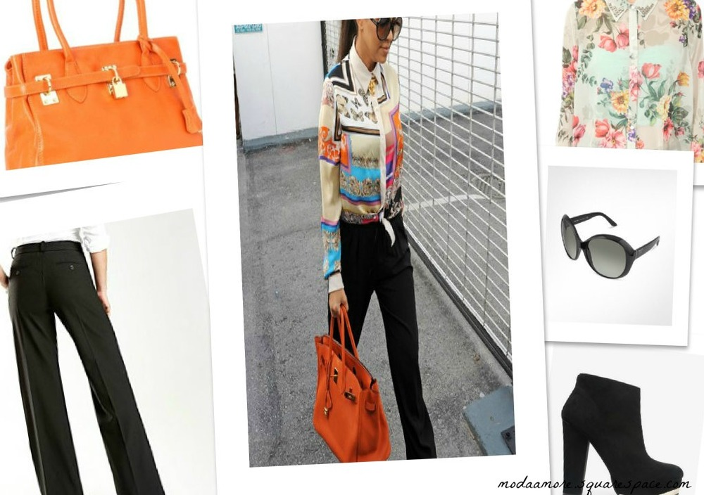 Prada Round Sunglasses $286  F21 Metallic Trim Boots $32.80  F21 Studded Floral Print Shirt $16.50   JC PENNY WORTHINGTON MODER WIDE LEG TROUSER $22   Amazon- Co Lab By Christian Kon Savannah Bag Orange $204
