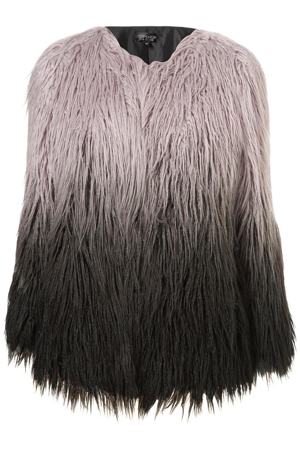 Ombre Faux Mongolian Fur Coat $178.00 TOPSHOP.COM