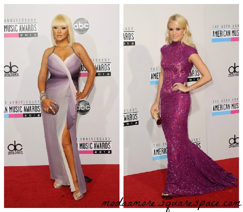 Christina Aguilera in Pamella Roland.Carrie Underwood in Abed Mahfouz
