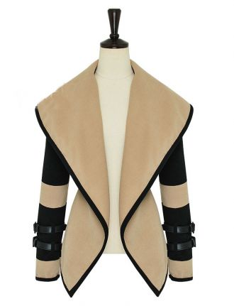 Coffee And Black Slim Large Collar Shawl Waistcoat $60 Sheinside.com