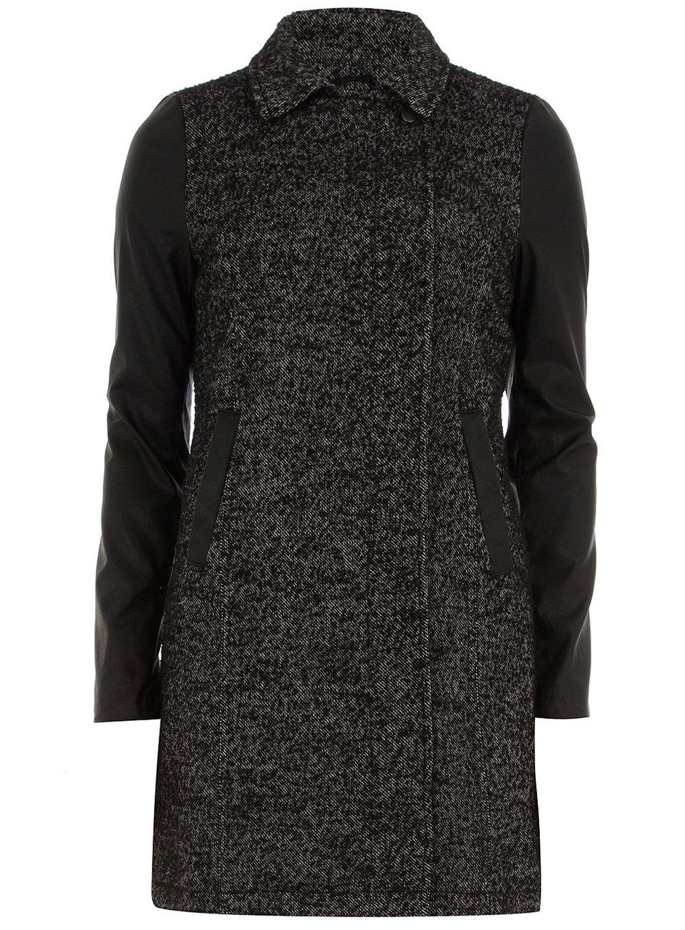 Long line PU sleeve Wool Coat Price: $119.00 Dorothyperkins.com