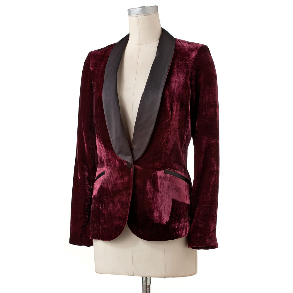 Lauren Conrad Velvet Tuxedo Jacket in the color TAWNY PORT $24.99 KOHLS