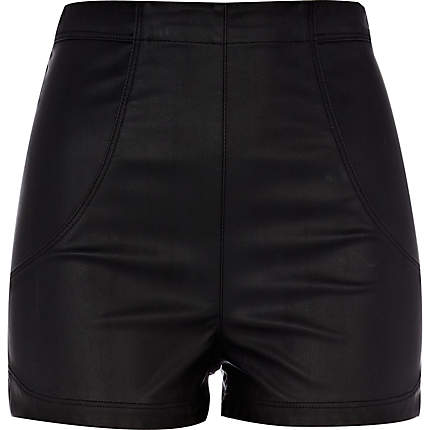 Black leather look high waisted shorts $60 from Riverisland
